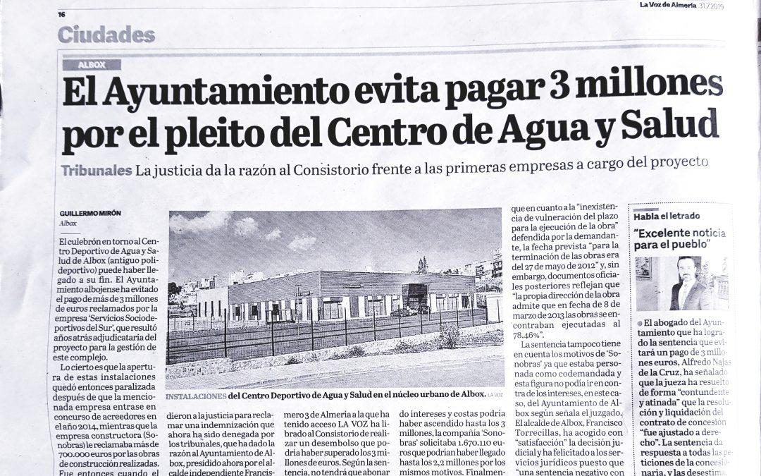 El Ayuntamiento evita pagar 3 millones por el pleito del Centro de Agua y Salud – La Voz de Almería